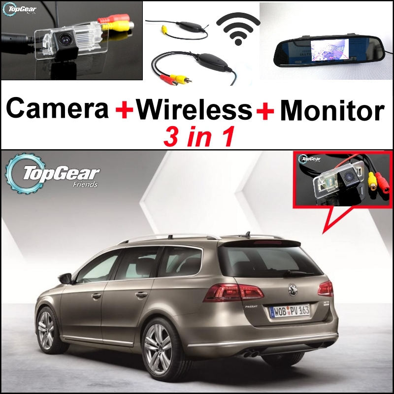 ФОТО 3 in1 Special Rear View Camera + Wireless Receiver + Mirror Monitor Back Up Parking System For Volkswagen VW Passat B7 Wagon