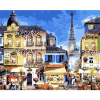 DEYI 40 50cm Hand Oil Painting Paris Street Decorative Linen Painting Framed Mirrors Wall Art For