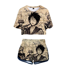 LUCKYFRIDAYF New 3D Summer Cool Shorts And T-shirts ONE PIECE Women Two Piece Sets CoolSkull Print Crop Top Clothes