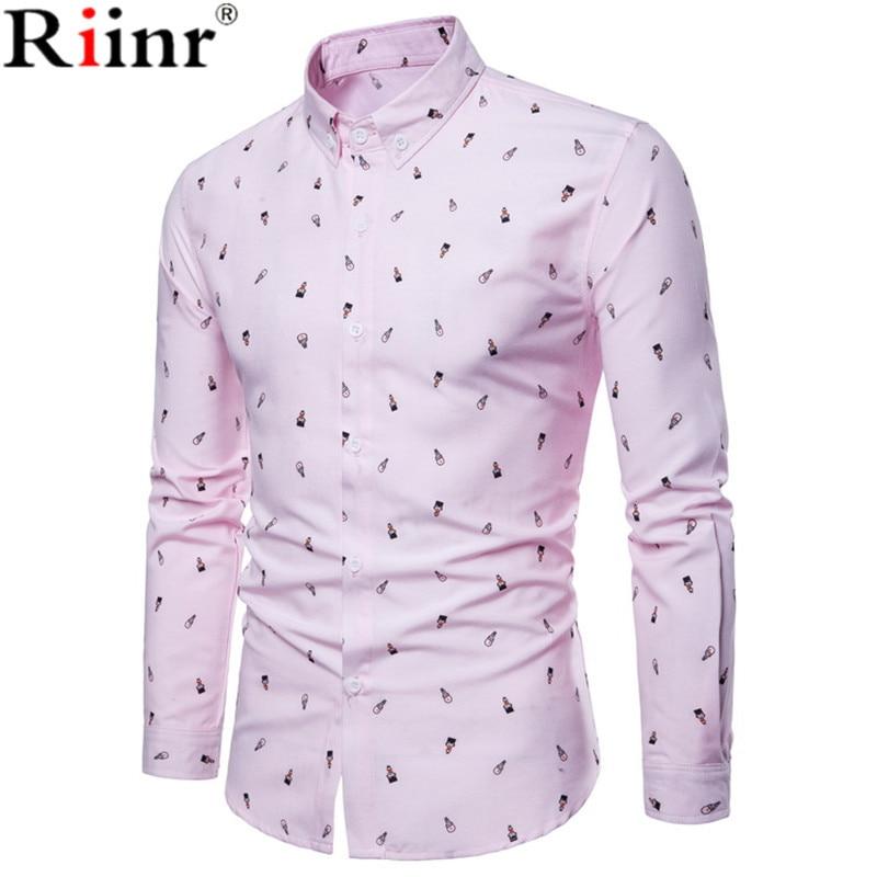 Riinr 2018 Fahion New Ariival Men's Shirt High Quality Casual Cartoon Man Printing Cotton Bland Long Sleeve Young Shirts Men