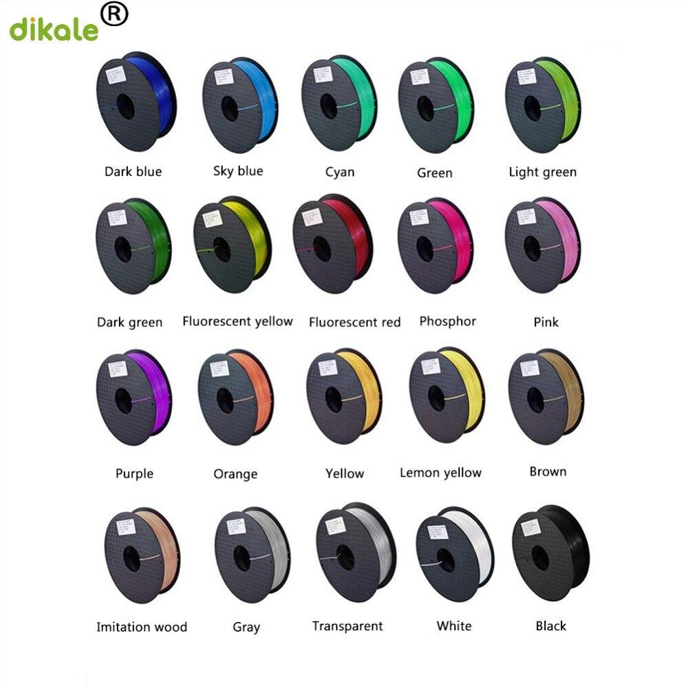 Dikale 3D imprimante Filament PLA 1.75mm matériel 20 couleur 1KG plastique caoutchouc consommables matériel pour votre choix