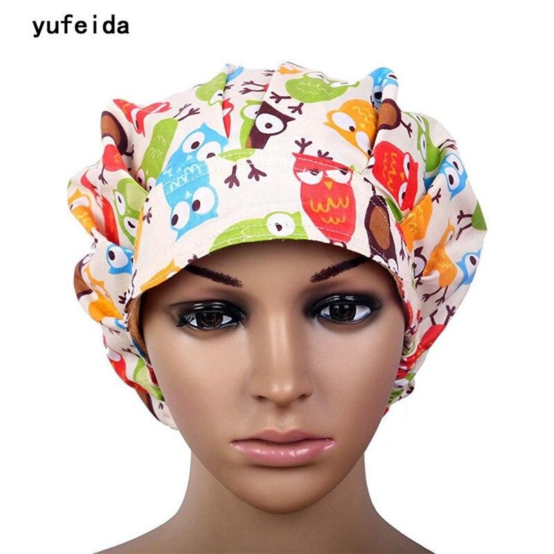YUFEIDA Hot Man Woman Surgical Cap Adjustable Unisex Lab Hospital Doctor Medical Scrub Caps Nurse Cotton Printing Surgical Caps
