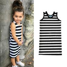 Фотография ChanJoyCC Girls Dress 2017New Girls Sleeveless Striped Cotton100% Leisure Vest Dress Kid Clothing T-shirt
