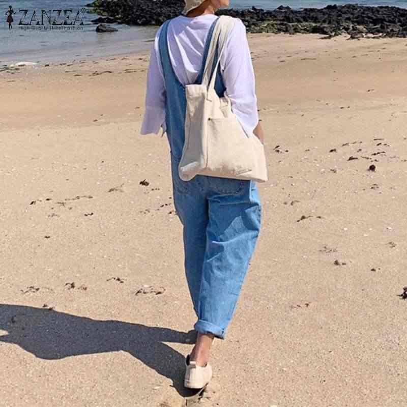 S 5XL ZANZEA Женские повседневные Комбинезоны 2019 летние вечерние свободные длинные Комбинезоны модные джинсовые синие комбинезоны с ремешками комбинезоны для девочек