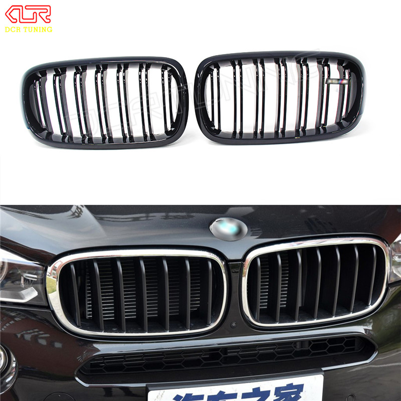 For BMW X5 F15 X6 F16 2014 2015 - on Dual Slats Gloss Black Plastic + Carbon Fiber Front Grille With Three Color helo he866 gloss black wheel with chrome accents 20x8 5 6x135mm