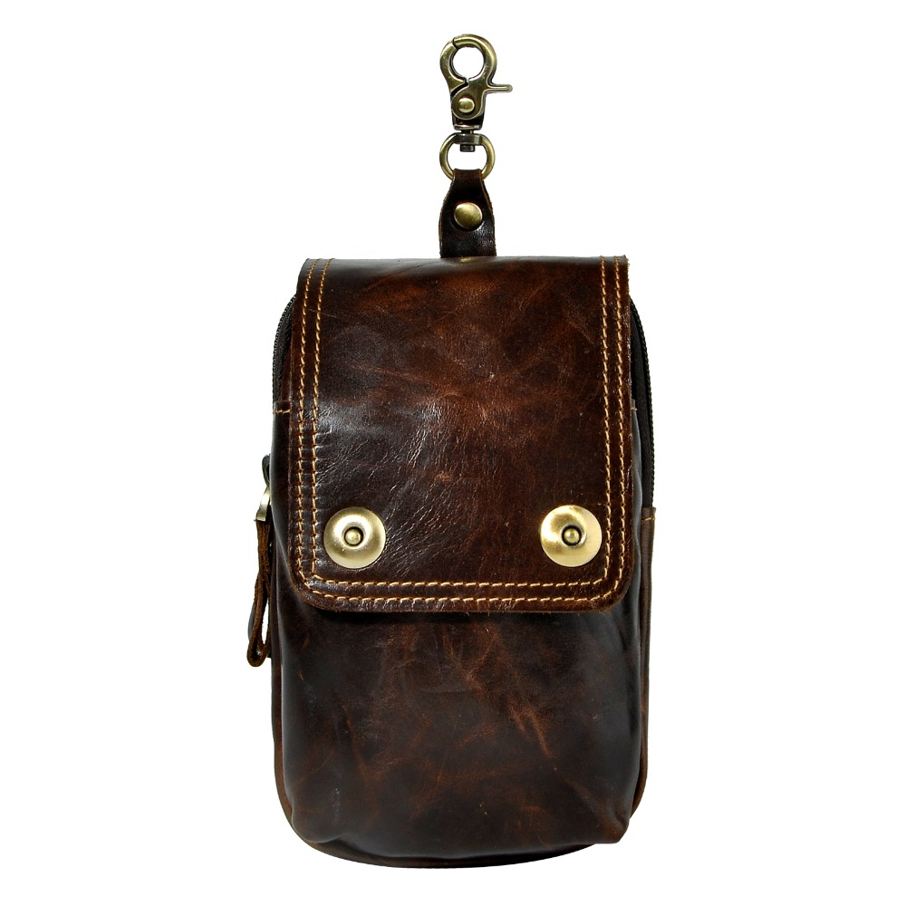 Натуральная кожа мужские Повседневное Дизайн Малый талии сумка коровьей моды молния пояс пакет портсигар Телефонные Чехлы 011c