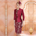 Elegant Burgundy Short 3/4 Sleeves Mother of Bride Lace Dresses With Jacket Knee Length Evening Party Gowns M153