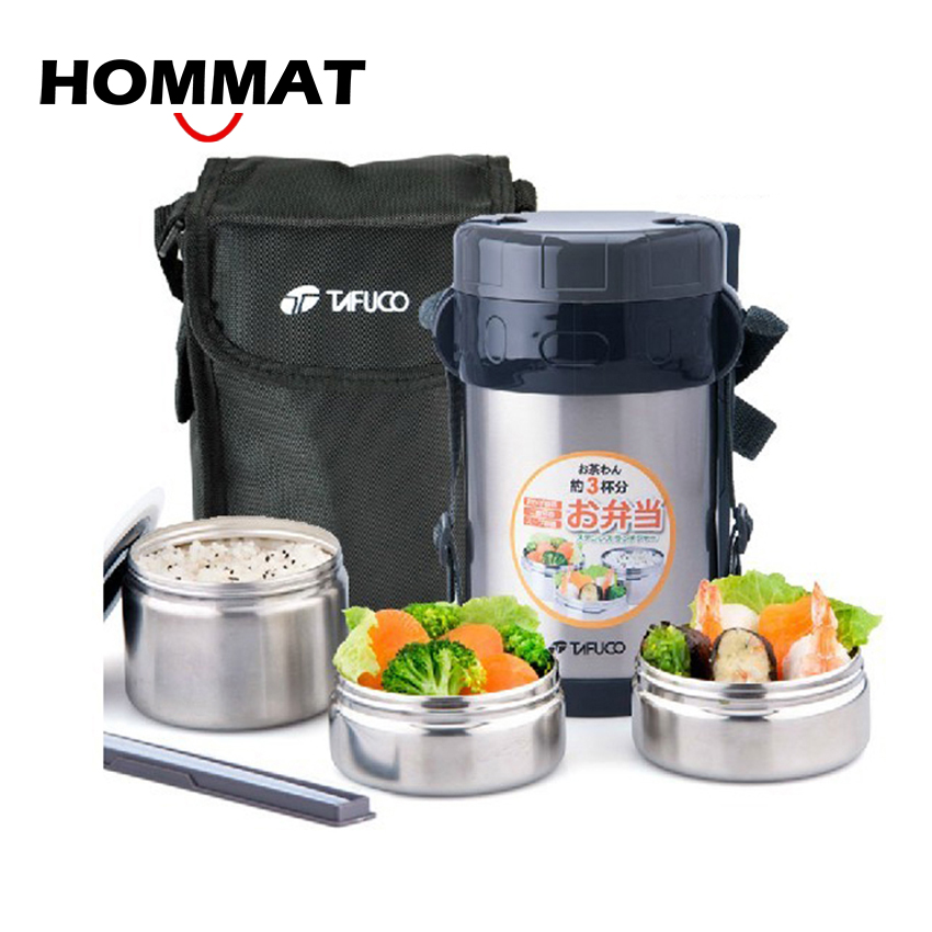Free Shipping Double Layer Vacuum Stainless Steel Lunch Box with Bag Thermos Food Container Tableware Dinnerware Sets 1500ML wrench