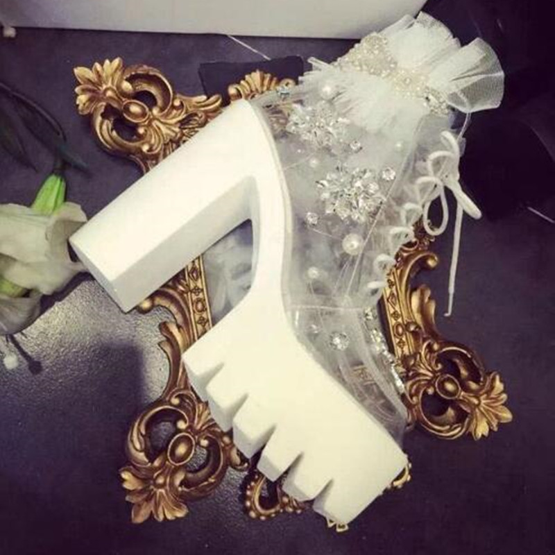 Handmade Crystal Pearl Beading Ankle Boots For 2018 Woman Sweet Lace Flower Platform High Chunky Heels Pumps Wedding Dress Shoes pearl beading layered fringe detail dress