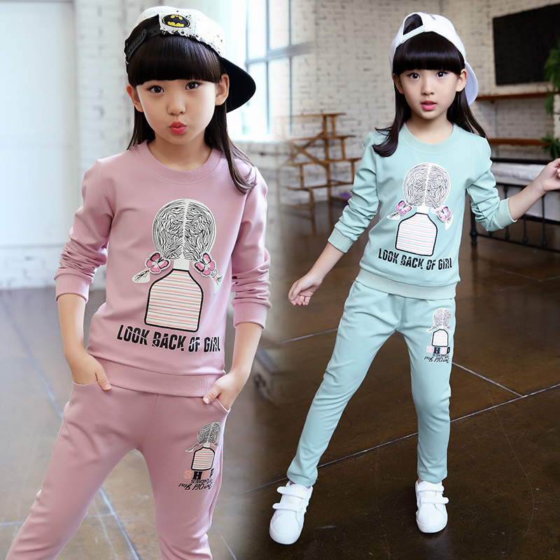 2018 New Girls clothes Sets print Lovely pattern Children Tracksuit kid clothing suit casual toddler baby sweatshirts+pants 2Pcs цена