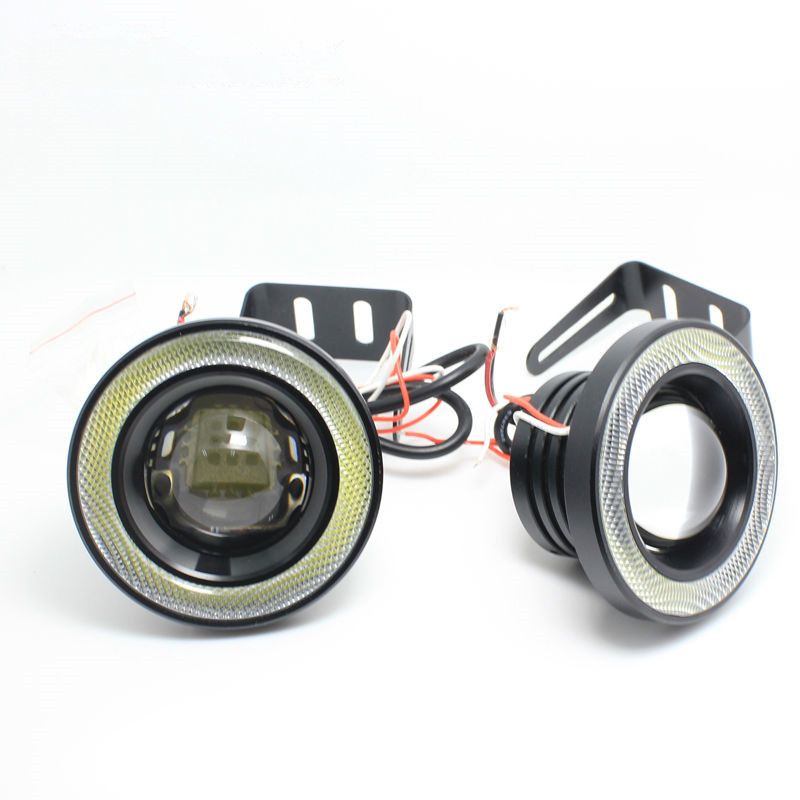 1 Pair Car 30W 3.0 76mm LED DRL Headlight Headlamp Driving Daytime Running Fog Safety Blue Angel Eye Halo Ring Head Light Lamp 1 pair 12 led strip flexible snake style eagle eye car drl daytime running light driving daylight safety day fog lamp