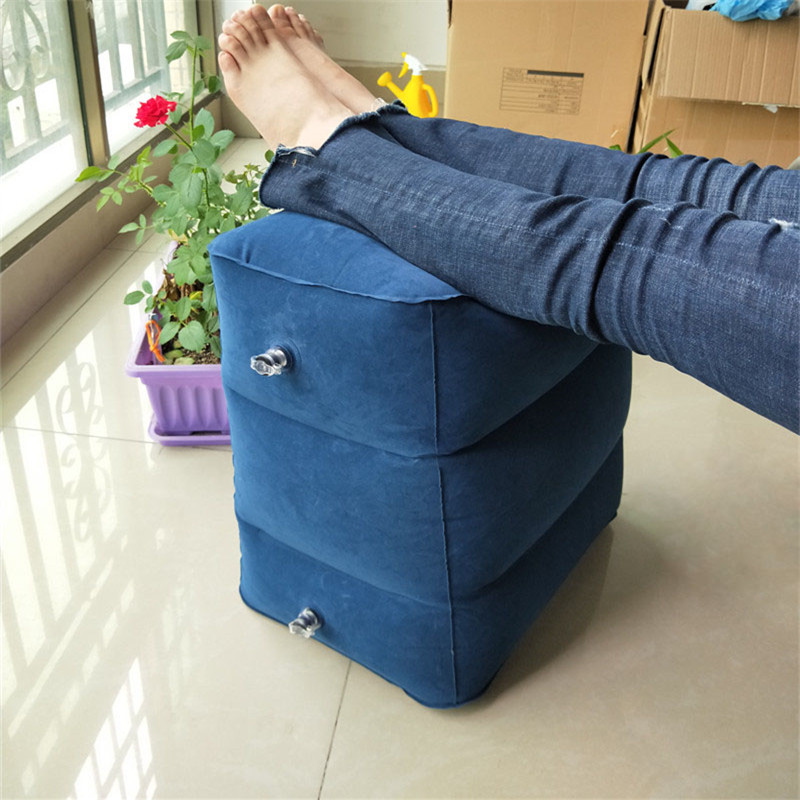Adjustable Height Leg Rest Pillow Inflatable Travel Airplane Foot Rest Cushion Pad Free Carrying Bag Drop Shipping