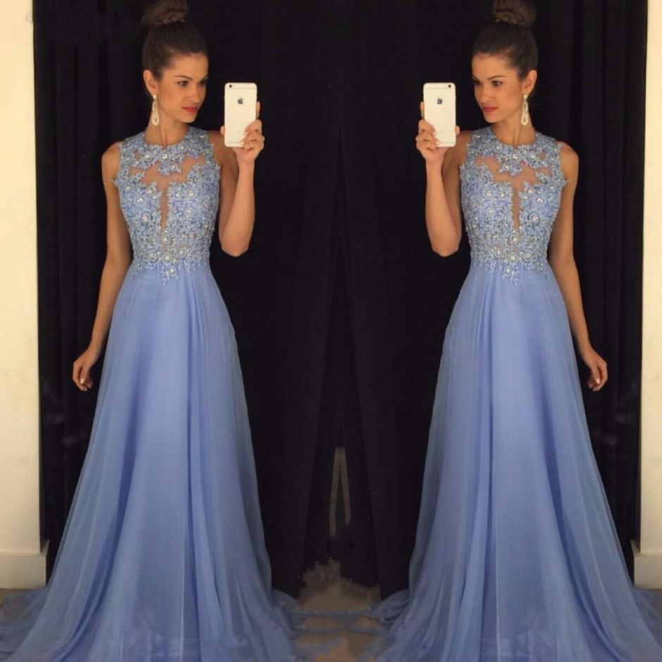 2019 Sexy Beading   Prom     Dresses   O Collo A Line Lace Chiffon Evening   Dress   Robe De Soiree Appliques Party   Dresses   Evening Gowns
