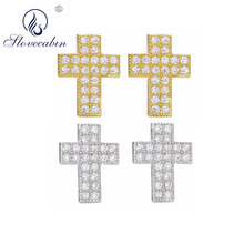 Slovecabin 925 Sterling Silver Unique Gold Cross Stud Earring Japan Men ATop Quality Clear Crystals CZ Jewelry Women Gift