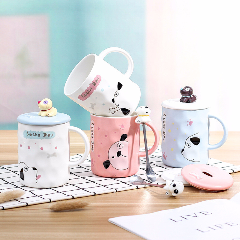 410 ml Cute Lucky Day Office Coffee Mug Children Water Cup with Mug Spoon and Lid for Best Gift