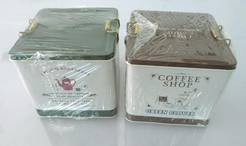 Квадратный металлический чехол для хранения кофе, коробка для хранения продуктов, жестяная коробка для чая