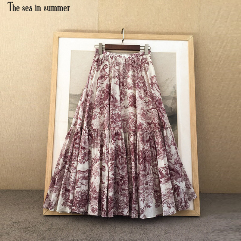2019 new early spring sketch pattern print pleated cotton skirt High quality Medium long elegant skirt