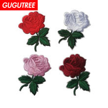 GUGUTREE embroidery rose patches flower badges applique for clothing ST-2