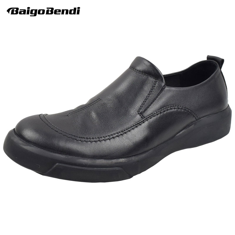 BAIGOBENDI US 6-10 Men Leisure Leather Shoes Full Grain Leather Slip On Business Man Office Casual Shoes Driving Car Shoes Soft hight quality men soft genuine leather buckle loafer slip on driving car shoes moccasin bussiness man office shoes