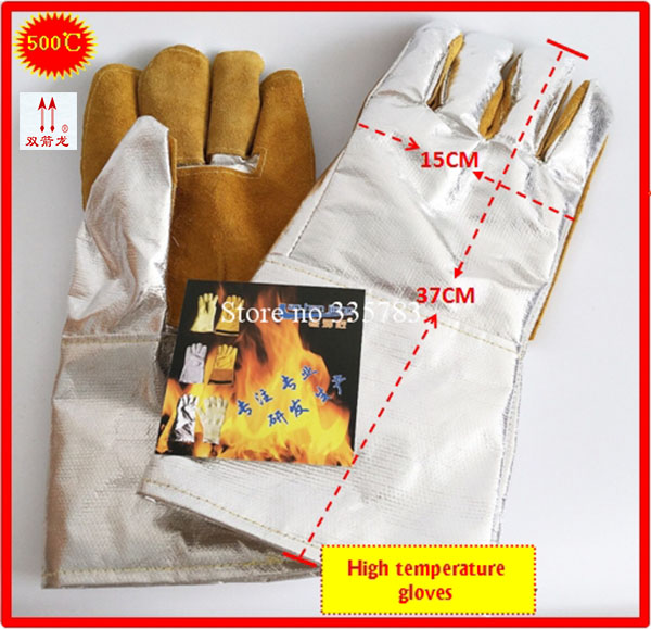 500 degrees high temperature gloves Thicker Aluminum foil + Cowhide megathermal safety glove Flame retardant arbeitshandschuhe аксессуар 5bites 3 5 jack m 3 5 jack m ac35j 030m 2m