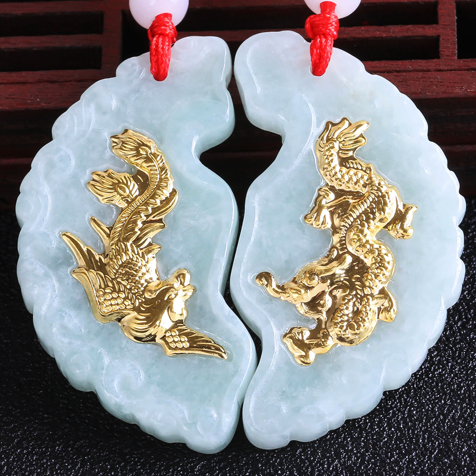 Natural Pairs White HeTian Yu + Full Gold Inlaid Carved Dragon Phoenix round Style Lucky Pendant Necklace + Certificate Jewelry цена