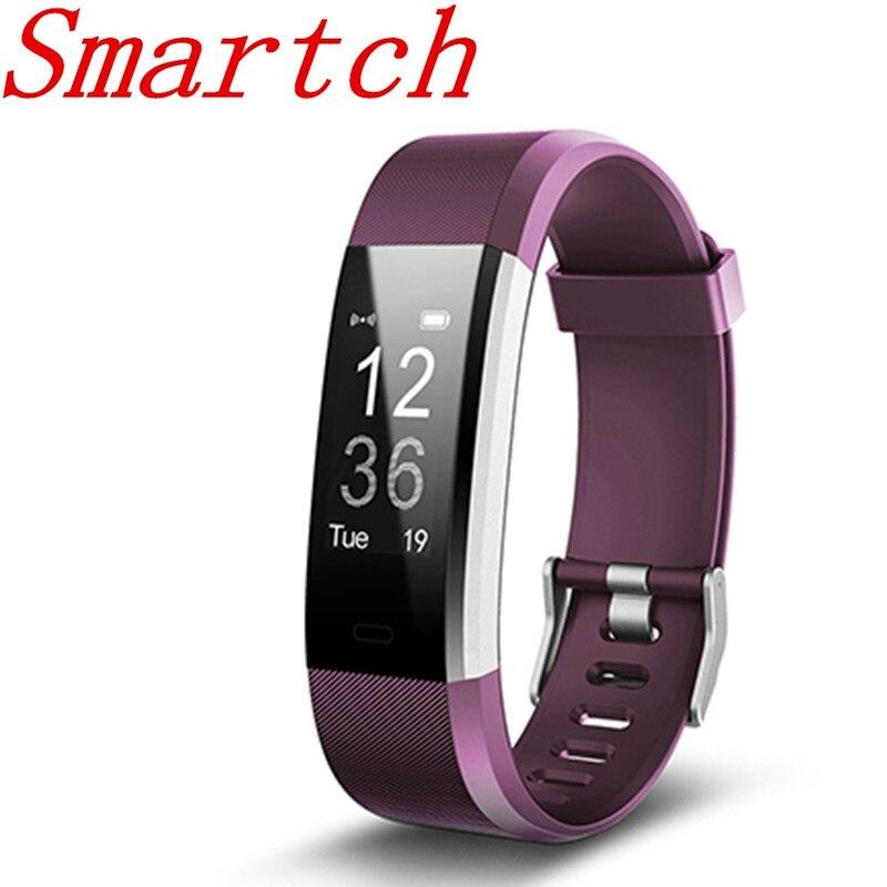 Smartch ID115 HR Plus Smart Wristband Monitor de ritmo cardíaco Fitness tracker pulsera para IOS teléfono Android