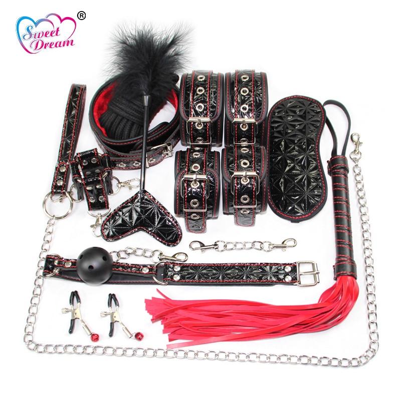 Doux Rêve 10 pcs/Lot Cristal En Cuir BDSM Bondage Set Menottes Fouet Slave Jeu Adulte Sex Toys pour Couple Produits de Sexe BLM-158