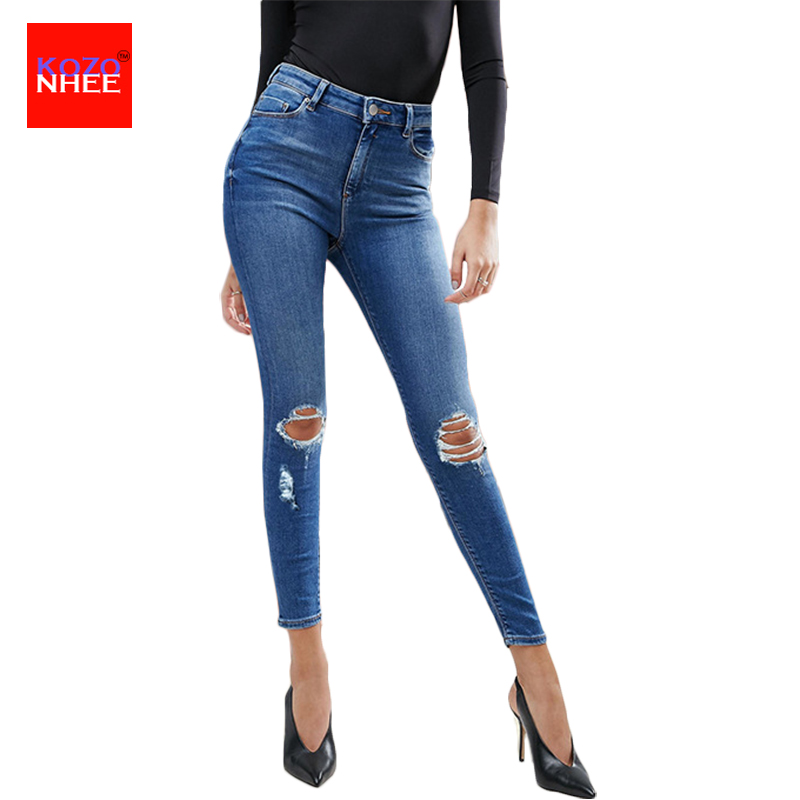f0e4bb46be103 Boyfriend Stretching Ripped Jeans With High Waist skinny jeans woman For  Girls Denim Elastic Ankle-Length Slim Torn Pencil Jean