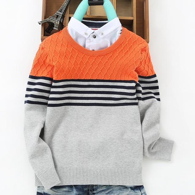 100% De Algodão Crianças Meninos Camisola Moda Falso collar Inglaterra Estilo bebés meninos Camisolas Crianças roupas de Malhas Pullover
