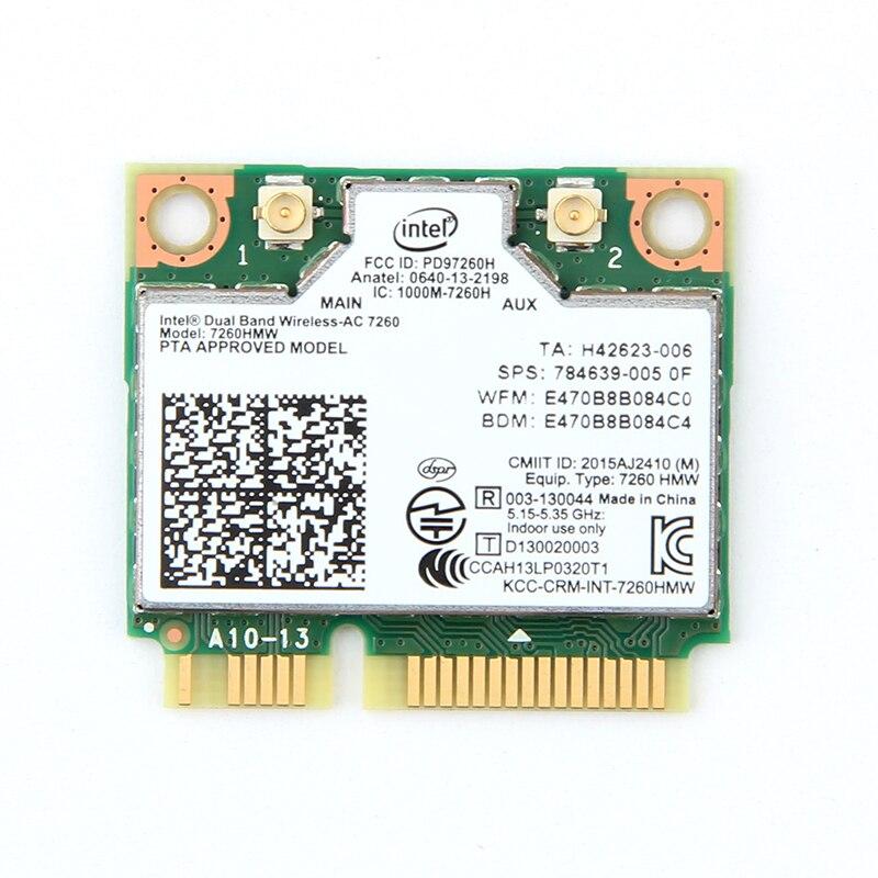 Doble banda AC1200 adaptador inalámbrico para Intel 7260 7260HMW AC MINI PCI-E tarjeta 2,4g/5G Wifi + bluetooth 4,0 para Dell/Sony/ACER/ASUS