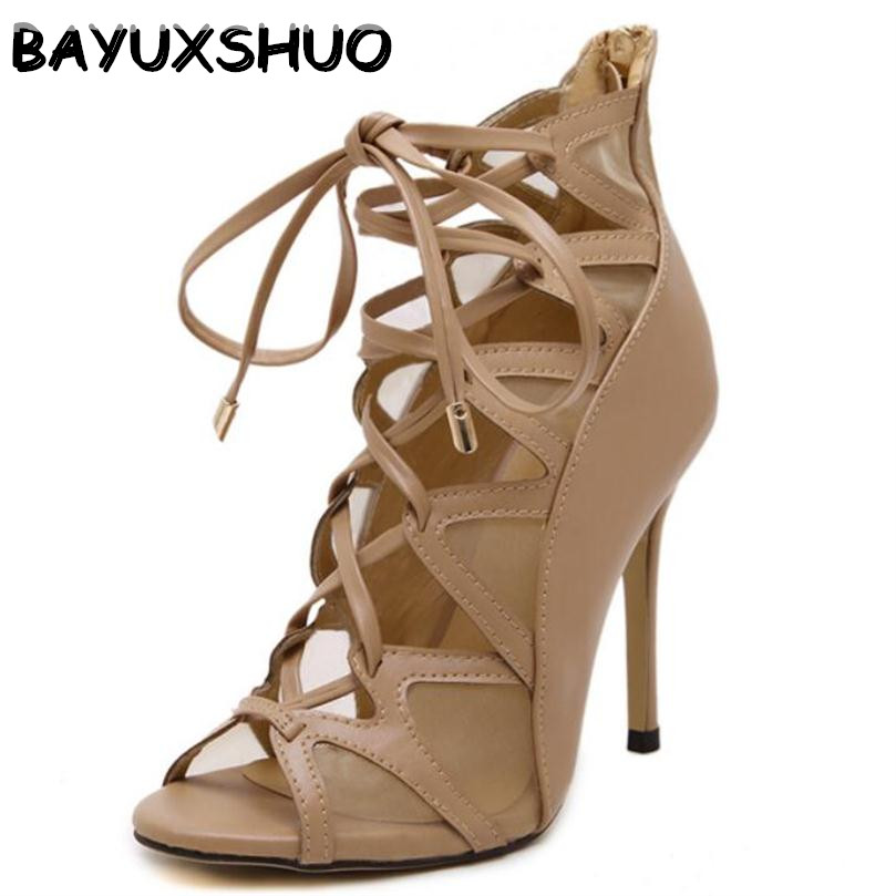 BAYUXSHUO Gladiator High Heels Sandals Women Sexy Mesh Genova Stiletto Sandal Fashion Open Toe Lace Up Pumps Shoes Woman Boots summer hot black mesh patchwork women open toe sandals ankle lace up ladies gladiator high heel zipper back dress shoes stiletto