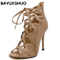 Rome Gladiator High Heels Sandals Women Sexy Mesh Genova Stiletto Sandal Fashion Design Open Toe Lace
