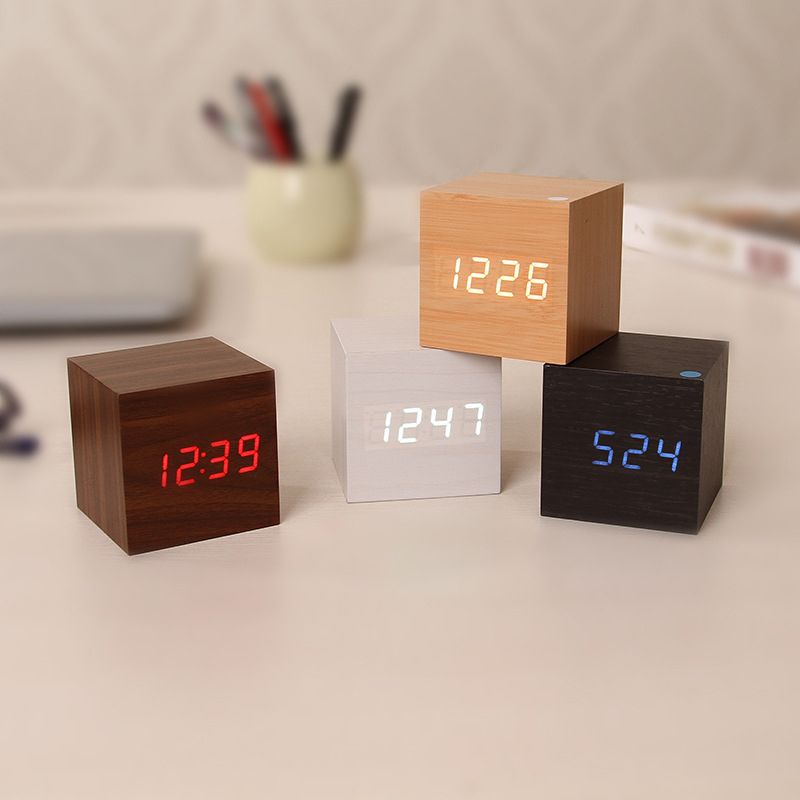 Image 2 - Multicolor Sound Control Wooden Wood Square LED Alarm Clock Desktop Table Digital Thermometer Wood USB/AAA Date Display BTZ1-in Alarm Clocks from Home & Garden