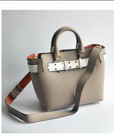 2018 new leather women's bag color commuter bag fashion colliding cow leather handheld single shoulder cross