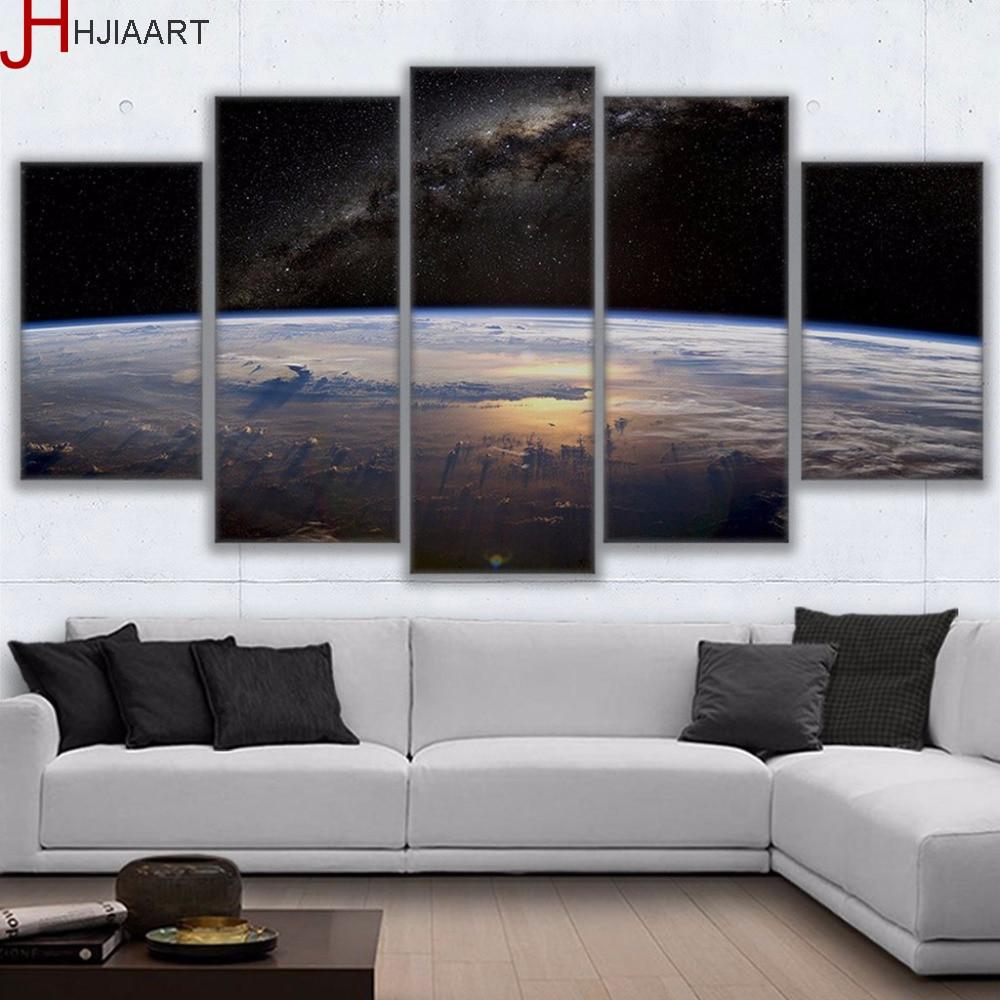 HD Stampato Tela Con Cornice Soggiorno Manifesti di Arte Della Parete 5 pezzi Universo Spazio Vista Pianeta Horizon Pittura Complementi Arredo Casa