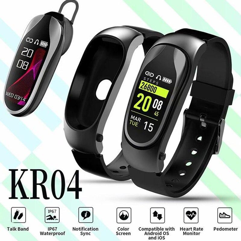 2019 nouveau KR04 bande intelligente Bluetooth sans fil écouteur en temps réel moniteur de fréquence cardiaque écran couleur Bracelet intelligent pour Android IOS