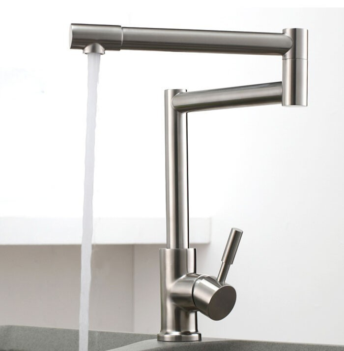 304 Stainless lead free brushed Kitchen Faucet Deck Mounted Kitchen Mixer Tap torneira de cozinha12 093