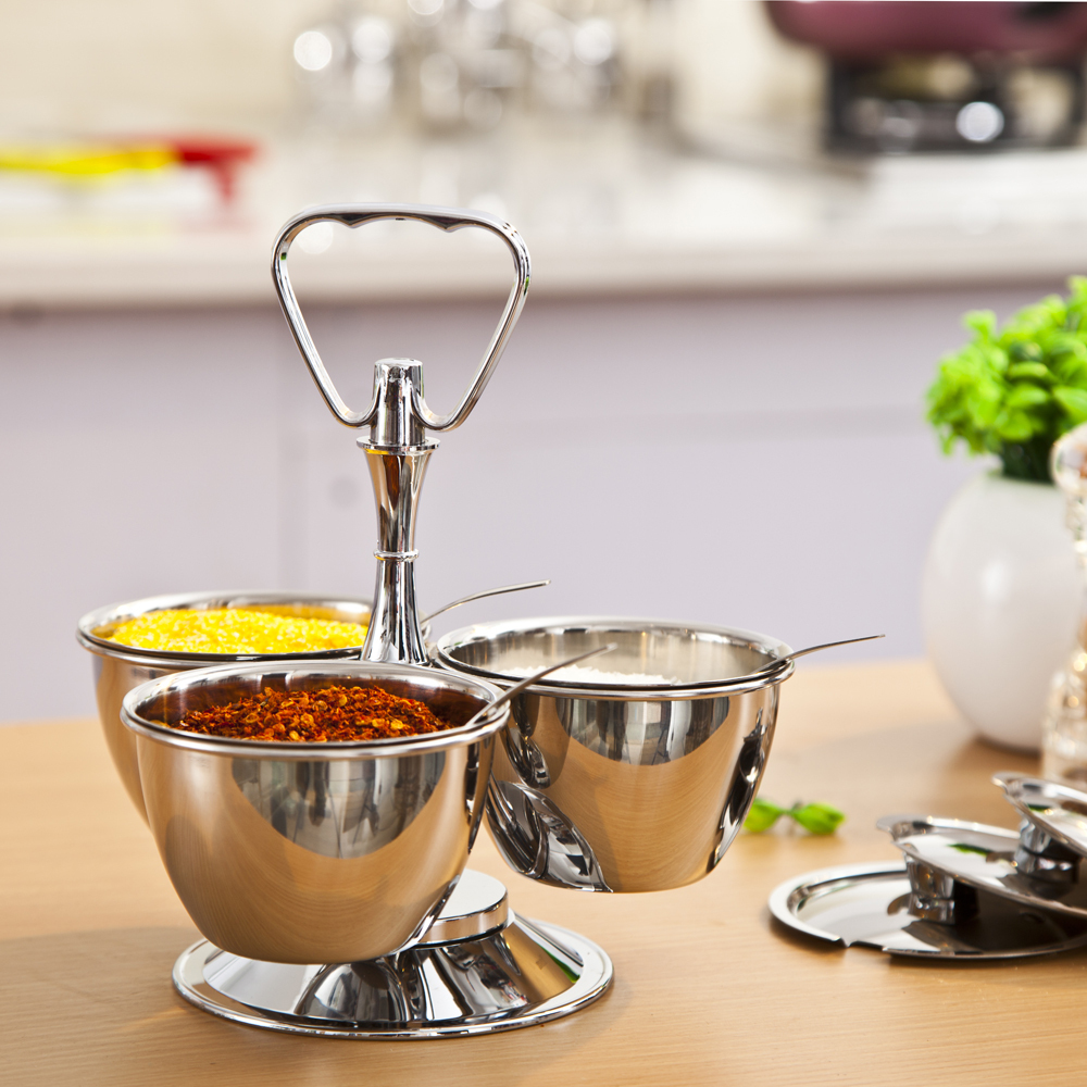 Aliexpress : Buy Stainless Steel Revolving Server 3 Bowl Condiment Set  Cruet Set Seasoning Bowl Spice Salt Pepper Canisters With Lids And Holder  From