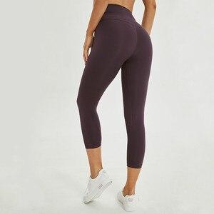 Image 4 - Shinхорошо 2,0 мягкие обнаженные спортивные брюки для фитнеса Cpari женские Четырехсторонние Эластичные Спортивные укороченные колготки для йоги