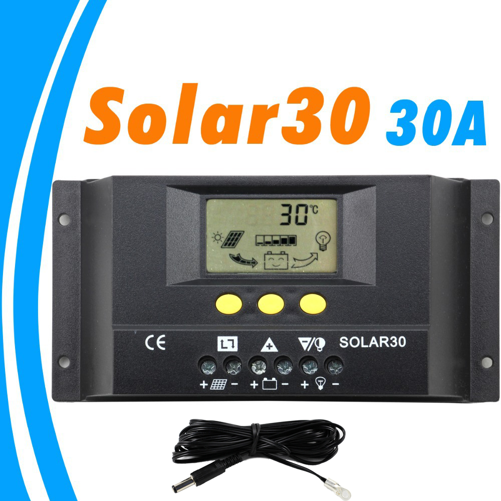 30A Solar Charge Controller LCD with 4M Remote Temp Sensor 12V 24V PV Panel Battery Charger Controller Solar System Home Indoor 20a 12 24v solar regulator with remote meter for duo battery charging