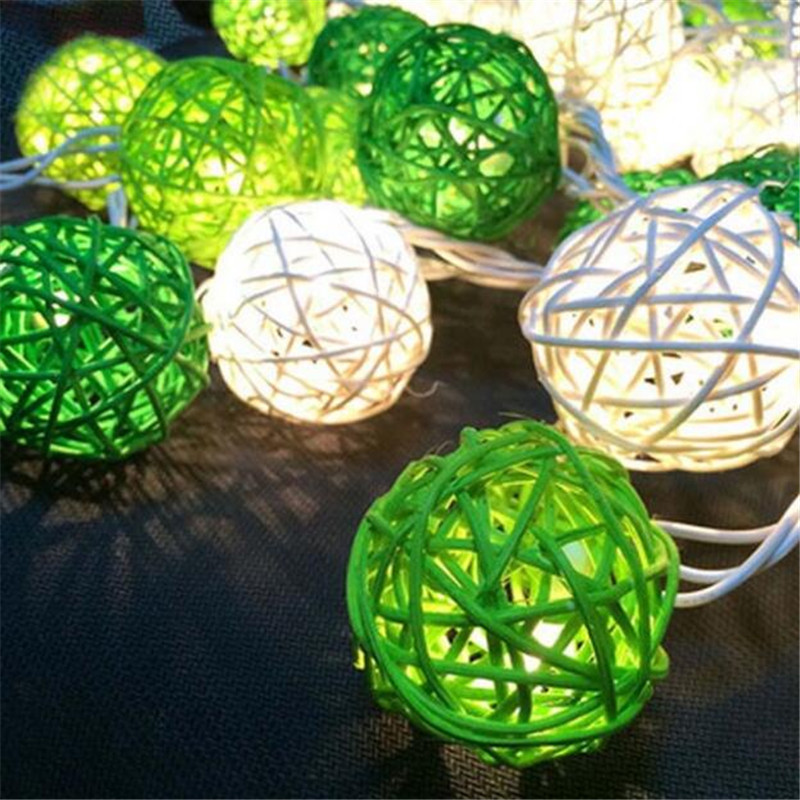 4m 20 Thailand Rattan Balls LED String Fairy lights Garland Green White Balls for Wedding Christmas Party Home Decorations