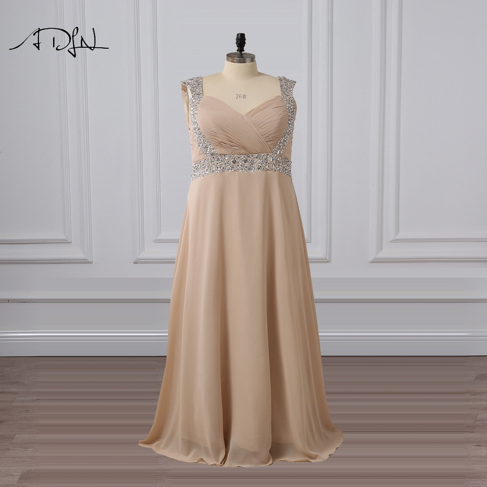 ADLN Plus Size Evening Dresses with Beads Champagne Special Occasion ...