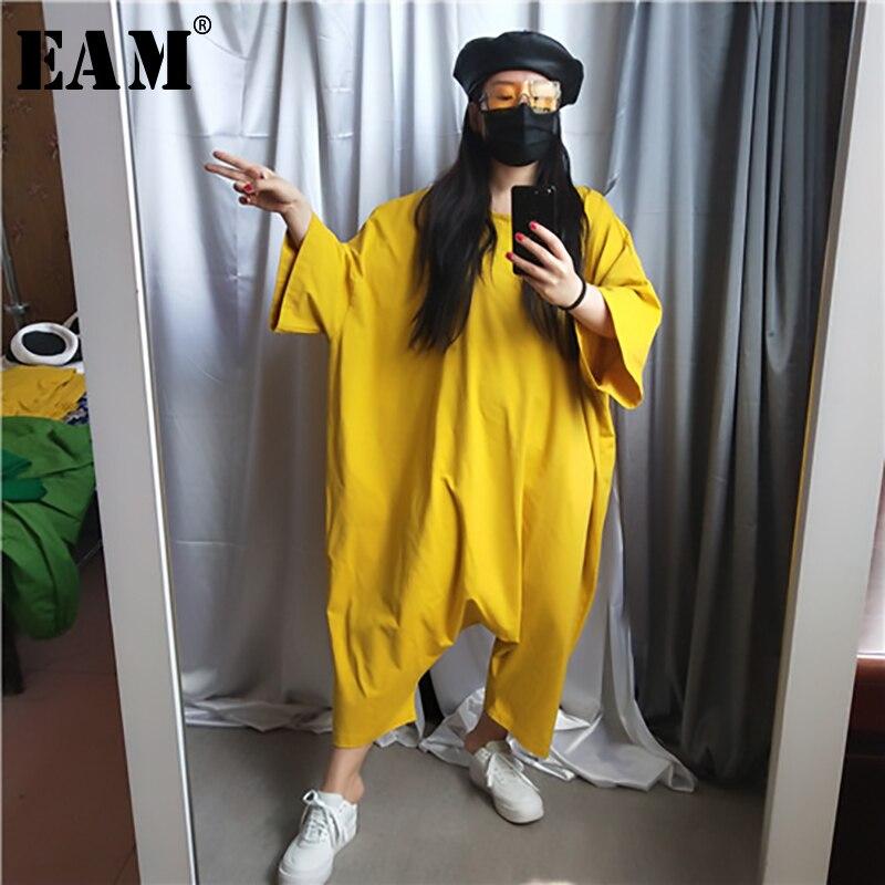 [EAM] 2019 New Autumn Winter High Waist Pocket Stitch  Green Overisze Long Big Size Loose Pants Women Jumpsuit  Fashion JU793