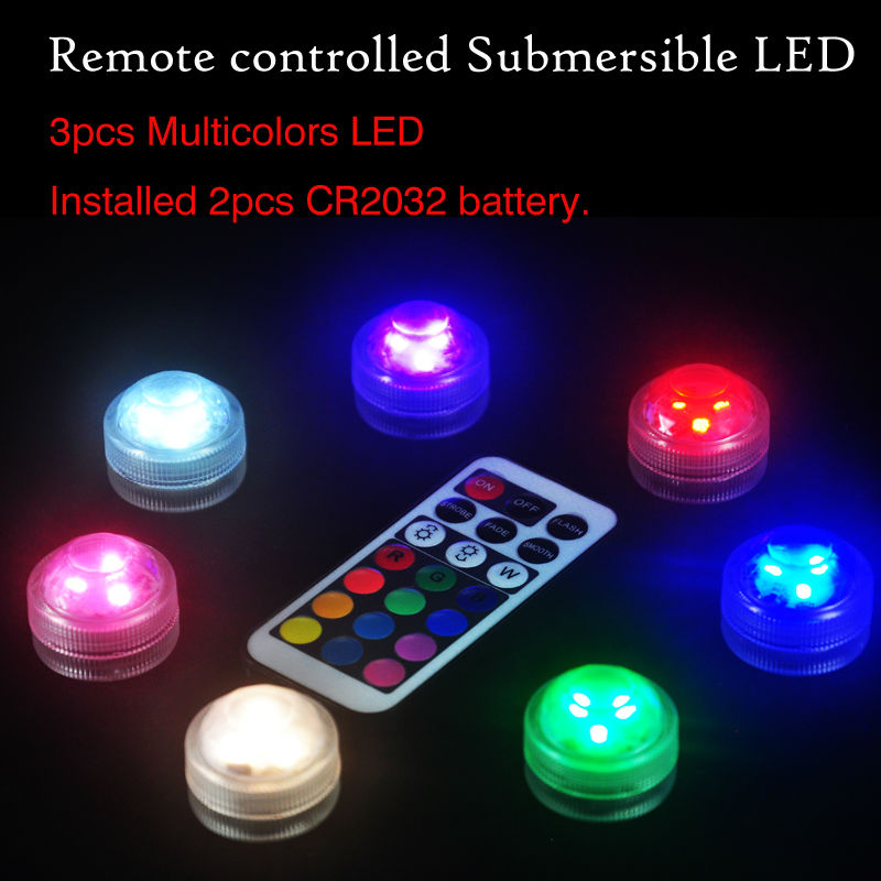 10pcs*3LEDs submersible led light,multicolor color LED with remote control Super bright led lights for wedding party decor