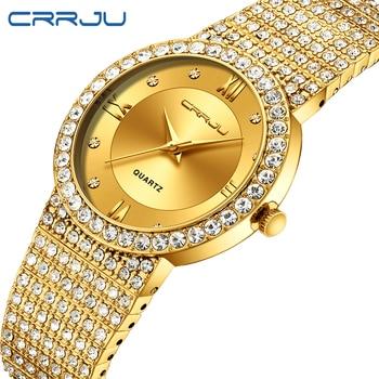 16b25b75a006 CRRJU marca de lujo vestido de moda hombres mujeres oro relojes de lujo  analógico cuarzo relojes reloj Unisex Relogio Masculino