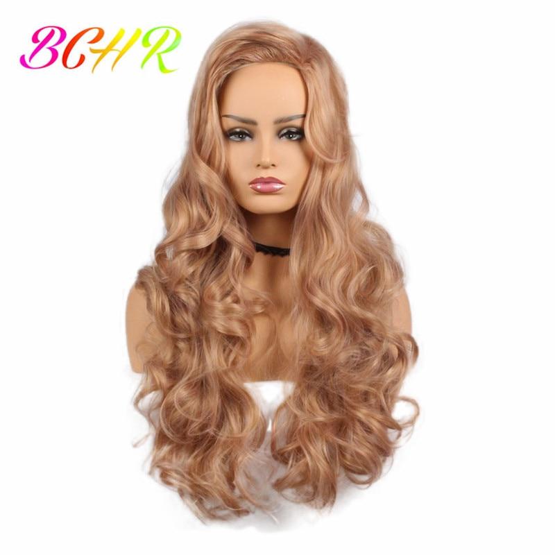 BCHR långblond vågig syntetisk peruk för kvinnor med stora byte - Syntetiskt hår