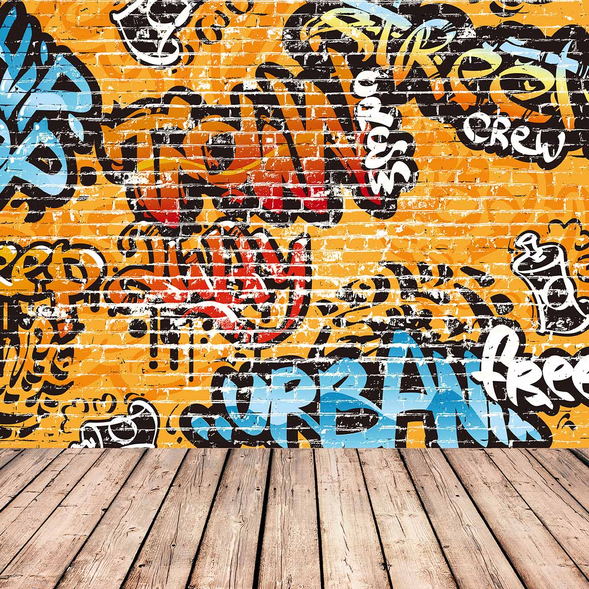 Allenjoy photography background store yellow Graffiti wall theme backdrop Colorful and Cool text pattern background New Arrivals
