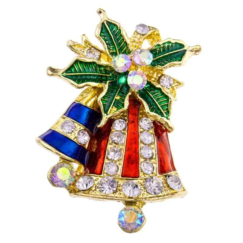 1pc Christmas Series Brooch Alloy Pin Christmas Brooch for Girls Fashion Creative  Women Pin Leaf Bell 8721cf1a2bbe