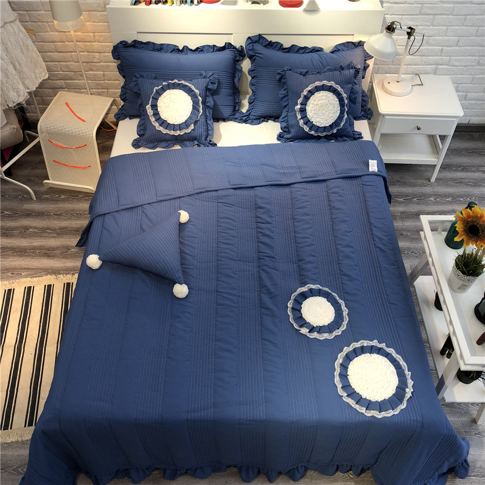 Pastoral Frilled Summer Quilt Wedding Bedspread 200230cm Quilted Bedcover Jacquard Blue Bed Spread Embroidery In From Home
