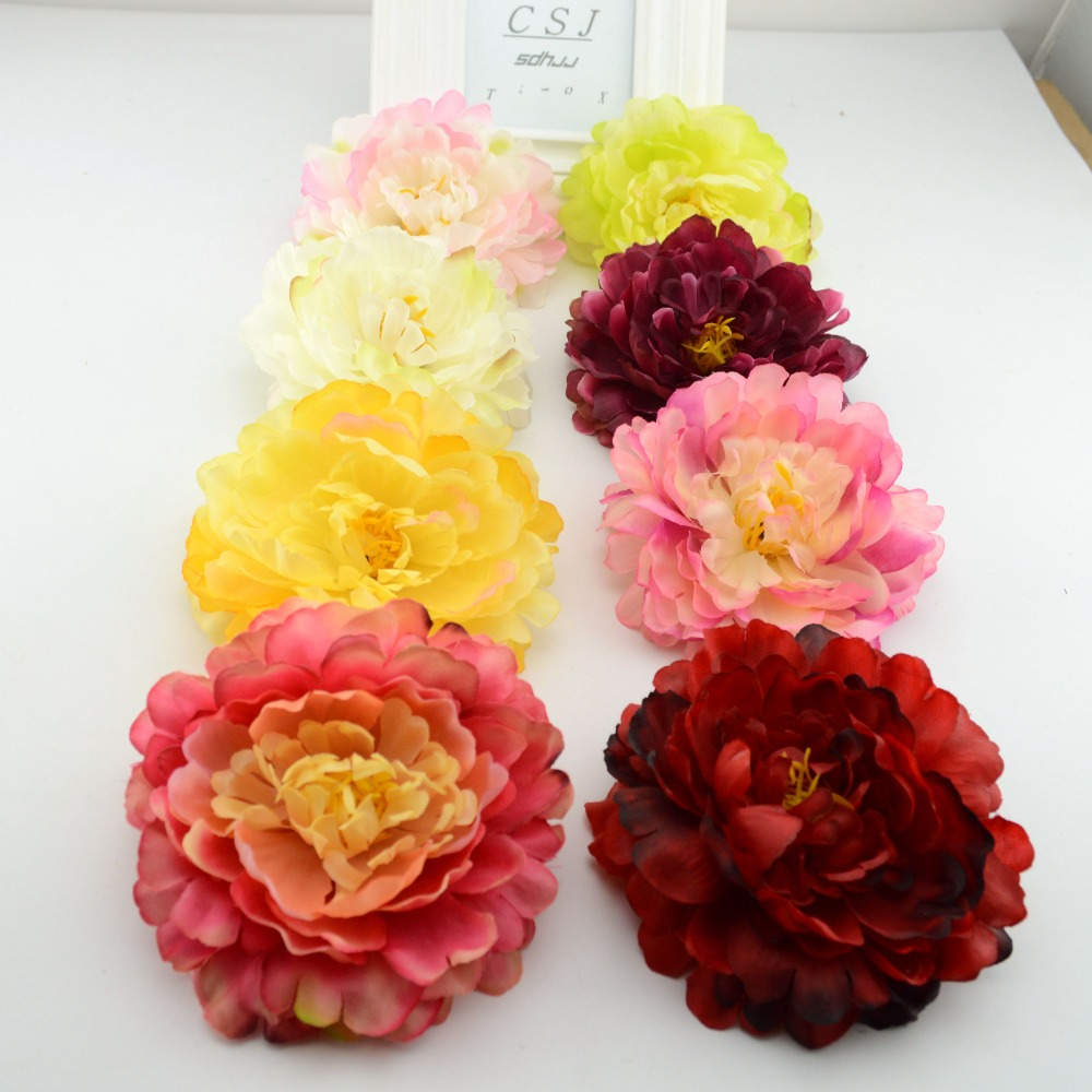 10pcs artificial flowers silk flower headdress large peony for Artificial flowers decoration images